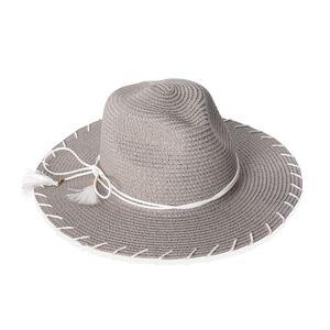 Gray 100% Paper Straw Bow Tie Tassel Panama Hat (One Size)