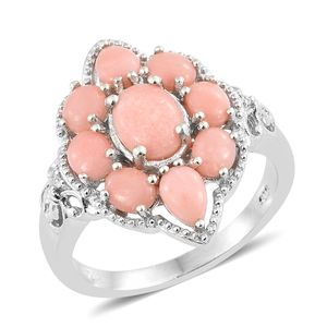 Dan's Collector Deal Oregon Peach Opal, Cambodian Zircon Platinum Over Sterling Silver Ring (Size 10.0) TGW 3.02 cts.