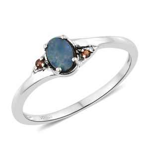 Australian Boulder Opal, Mozambique Garnet Sterling Silver Ring (Size 7.0) TGW 0.39 cts.