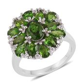 Dan's Collector Deal Russian Diopside, White Zircon Sterling Silver Cluster Ring (Size 7.0) TGW 3.51 cts.