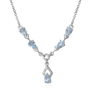 Sky Blue Topaz Sterling Silver Teardrop Necklace with Stainless Steel Chain (18 in) TGW 2.50 cts.