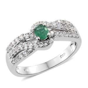 Brazilian Emerald, Cambodian Zircon Platinum Over Sterling Silver Ring (Size 5.0) TGW 0.90 cts.
