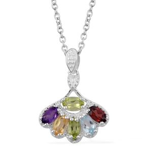 Multi Gemstone Sterling Silver Pendant With Stainless Steel Chain (20 in) TGW 1.53 cts.