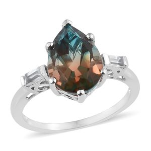 Aqua Terra Costa Quartz, White Topaz Platinum Over Sterling Silver Ring (Size 7.0) TGW 6.09 cts.