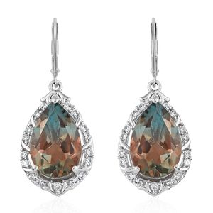 Aqua Terra Costa Quartz, Cambodian Zircon Platinum Over Sterling Silver Earrings TGW 13.85 cts.