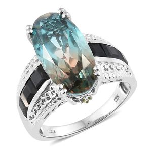 Aqua Terra Costa Quartz, Multi Gemstone Platinum Over Sterling Silver Ring (Size 7.0) TGW 13.25 cts.