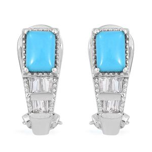 Arizona Sleeping Beauty Turquoise, White Topaz Platinum Over Sterling Silver Omega Clip Earrings TGW 1.98 cts.