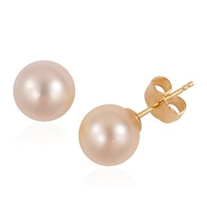 White South Sea Pearl (9-10 mm) 14K YG Over Sterling Silver Stud Earrings