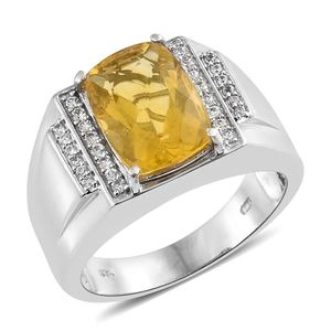 FOR HIM Yellow Fluorite, Cambodian Zircon Platinum Over Sterling Silver Men's Ring (Size 12.0) TGW 8.10 cts.
