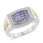 Tanzanite, Cambodian Zircon 14K YG and Platinum Over Sterling Silver Men's Cluster Signet Ring (Size 12.0) TGW 1.34 cts.