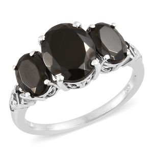 Shungite, Thai Black Spinel Platinum Over Sterling Silver Ring (Size 8.0) TGW 3.85 cts.