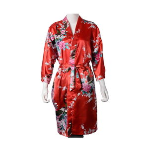 Red with Multi Color Peacock & Peony Pattern 100% Polyester Kimono (One Size)