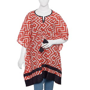 Red Hand Screen Printed Kaftan (35x41 in, 100% Cotton)