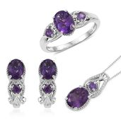 Lusaka Amethyst Platinum Over Sterling Silver Earrings, Ring (Size 11) and Pendant With Chain (20 in) TGW 5.94 cts.
