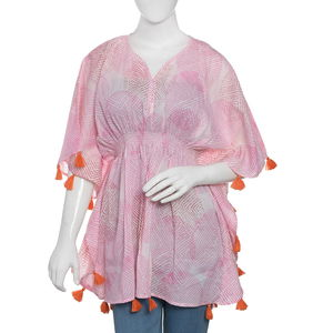 Pink MARIE KAFTAN Hand Screen Printed (31x41 in, 100% Cotton)
