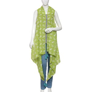 Holly Pareo - Green 100% Cotton Hand Screen Printed Kimono (One Size)