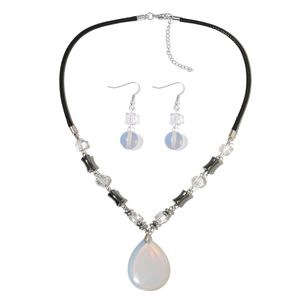 Opalite, Multi Gemstone Stainless Steel Earrings and Necklace (20 in) TGW 187.00 cts.