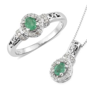 Brazilian Emerald, Cambodian Zircon Platinum Over Sterling Silver Ring (Size 6) and Pendant With Chain (20 in) TGW 1.10 cts.