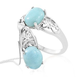 Larimar Platinum Over Sterling Silver Ring (Size 10) and Pendant With Chain (20 in) TGW 5.60 cts.