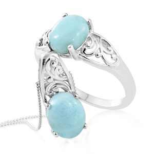 Larimar Platinum Over Sterling Silver Ring (Size 5) and Pendant With Chain (20 in) TGW 5.60 cts.