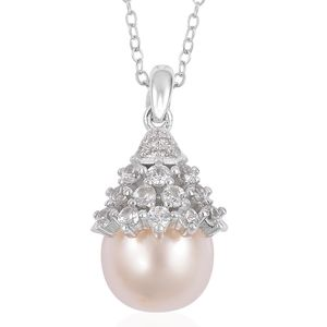 White South Sea Pearl (9.5-10 mm), White Zircon Sterling Silver Pendant With Chain (18 in) TGW 0.66 cts.