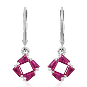 Lab Created Ruby Stainless Steel & Sterling Silver Lever Back Earrings TGW 1.05 cts.