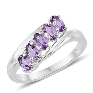 Rose De France Amethyst Sterling Silver 5 Stone Ring (Size 5.0) TGW 1.05 cts.