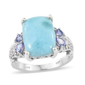 Larimar, Multi Gemstone Platinum Over Sterling Silver Ring (Size 7.0) TGW 11.95 cts.