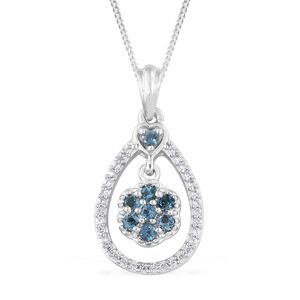 Monte Belo Indicolite, Cambodian Zircon Platinum Over Sterling Silver Inner Floral Heart Drop Pendant With Chain (20 in) TGW 0.51 cts.
