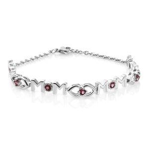 Orissa Rose Garnet Platinum Bond Brass MOM Station Bracelet (7.50 In) TGW 1.00 cts.