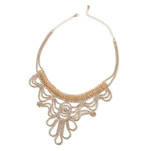Austrian Crystal Goldtone Bib Necklace (20 in)