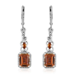 Northern Lights Twilight Topaz, Santa Ana Madeira Citrine Platinum Over Sterling Silver Lever Back Earrings TGW 4.00 cts.