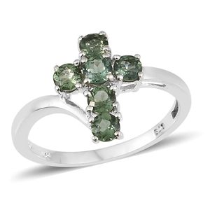 Madagascar Paraiba Apatite Sterling Silver Cross Ring (Size 7.0) TGW 0.90 cts.