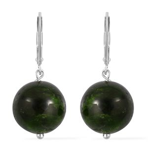 Russian Diopside Sterling Silver Lever Back Earrings TGW 33.00 cts.