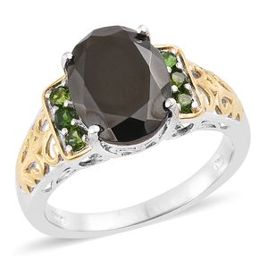 Shungite, Russian Diopside 14K YG and Platinum Over Sterling Silver Ring (Size 7.0) TGW 4.34 cts.