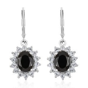 Shungite, White Topaz Platinum Over Sterling Silver Lever Back Earrings TGW 4.23 cts.