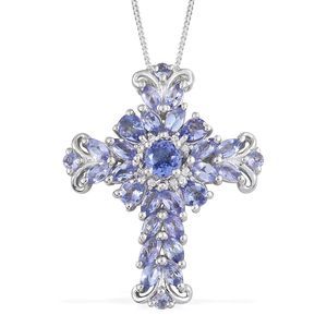Tanzanite, Cambodian Zircon Platinum Over Sterling Silver Pendant With Chain (20 in) TGW 2.78 cts.