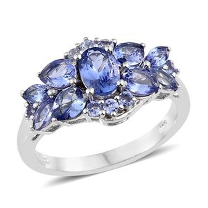 Tanzanite Platinum Over Sterling Silver Ring (Size 7.0) TGW 2.93 cts.
