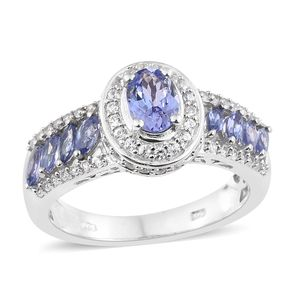 Tanzanite, Cambodian Zircon Platinum Over Sterling Silver Ring (Size 7.0) TGW 2.19 cts.