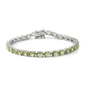 Hebei Peridot Sterling Silver Bracelet (6.50 In) TGW 13.72 cts.