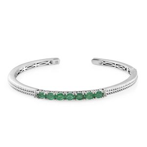 Brazilian Emerald, Cambodian Zircon Platinum Over Sterling Silver Cuff (7.25 in) TGW 2.42 cts.