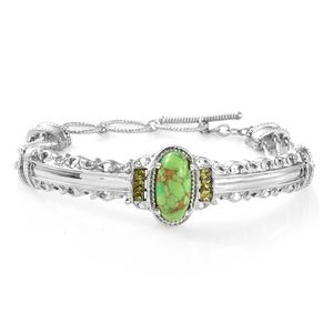 Mojave Green Turquoise, Simulated Peridot Diamond Stainless Steel Bangle (7.25 in) Total Gem Stone Weight 5.54 Carat