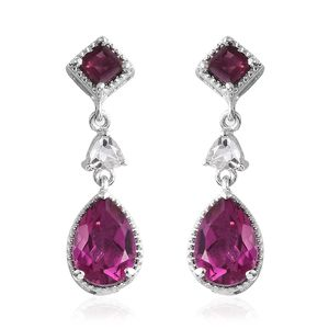 Radiant Orchid Quartz, Multi Gemstone Platinum Over Sterling Silver Earrings TGW 5.86 cts.