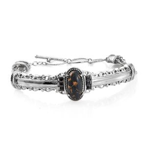 Mojave Black Turquoise, Simulated Black Diamond Stainless Steel Bangle (7.25 in) Total Gem Stone Weight 5.48 Carat