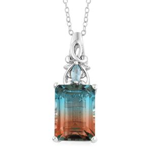 Aqua Terra Costa Quartz, Madagascar Paraiba Apatite Platinum Over Sterling Silver Pendant With Chain (20 in) TGW 9.17 cts.