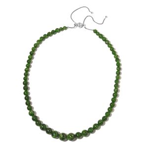 Russian Diopside Majestic Beads Sterling Silver Adjustable Necklace with Magnetic Clasp (16 - 22 in) TGW 230.00 cts.