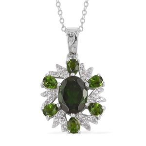 Russian Diopside, White Zircon Sterling Silver Pendant With Chain (18 in) TGW 3.25 cts.