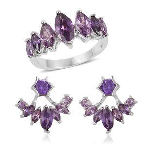 Simulated Purple Diamond Silvertone Ear Jacket Earrings and Ring (Size 6) TGW 3.50 cts.