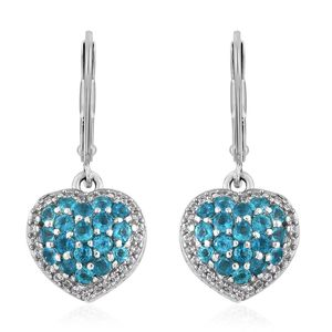 Malgache Neon Apatite, Cambodian Zircon Platinum Over Sterling Silver Lever Back Heart Drop Earrings TGW 1.86 cts.