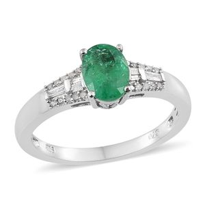 Luxury For Less Premium Brazilian Emerald, Diamond Platinum Over Sterling Silver Ring (Size 7.0) TDiaWt 0.13 cts, TGW 1.23 cts.